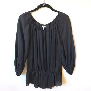 Joie NWOT Peplum Hem Silk Blouse in Black